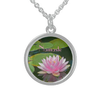 """GORGEOUS PALE PINK LOTUS BLOSSOM, ""NAMASTE"" STERLING SILVER NECKLACE"