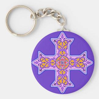 Gorgeous Pastel Coptic Cross Basic Round Button Keychain
