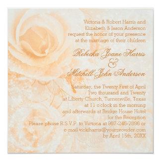 Gorgeous peach cream roses Wedding Card