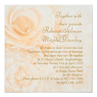Gorgeous peach cream roses Wedding Invitation