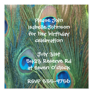 Gorgeous Peacock Birthday Invitations