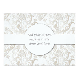 "Gorgeous Pearl White Damask Pattern 5.5"" X 7.5"" Invitation Card"