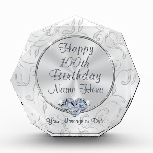 Gorgeous Personalized 60th Birthday Gifts For Her: Gorgeous Personalized 100th Birthday Gifts For Her Award