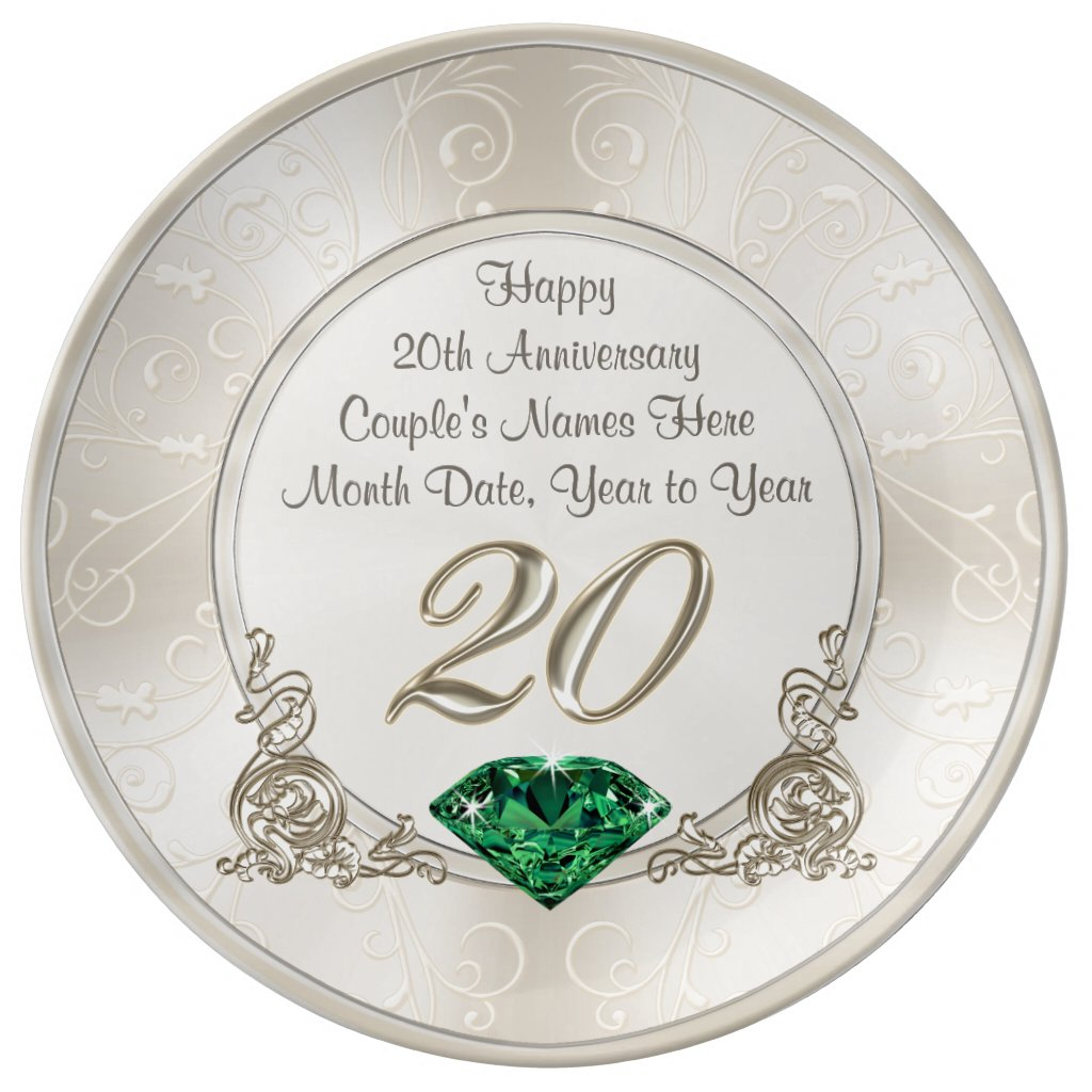 Gorgeous Personalized 20th Anniversary Gifts Plate
