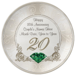Gorgeous Personalized 20th Anniversary Gifts Plate at Zazzle