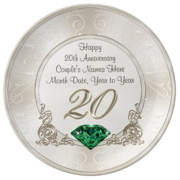 anniversarie Gorgeous Personalized 20th Anniversary Gifts Plate