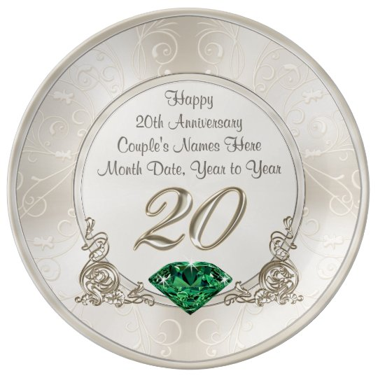 Twentieth Wedding Anniversary Gift: Gorgeous Personalized 20th Anniversary Gifts Plate