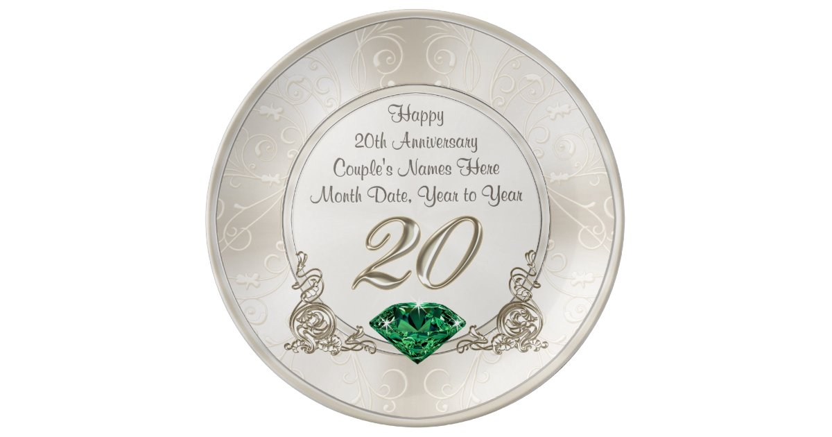 Gorgeous Personalized 20th Anniversary Gifts Plate Zazzle Com
