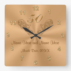 Gorgeous Personalized 50th Anniversary Gifts Square Wall Clock at Zazzle