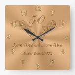 Gorgeous Personalized 50th Anniversary Gifts Square Wallclock
