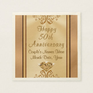 Gorgeous Personalized 50th Anniversary Napkins