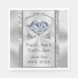 Gorgeous Personalized 60th Anniversary Napkins at Zazzle