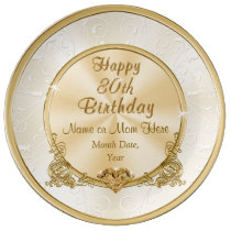 Gorgeous Personalized 80th Birthday Gifts for Mom Dinner Plate