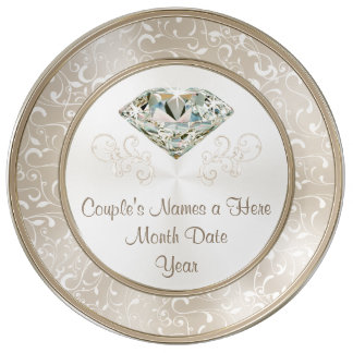 Gorgeous Personalized Diamond Wedding Gifts, Plate