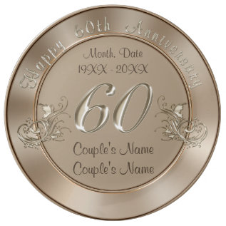 Gorgeous Personalized Traditional 60th Anniversary Dinner Plate at Zazzle