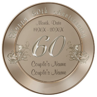 Gorgeous PERSONALIZED Traditional 60th Anniversary Dinner Plate