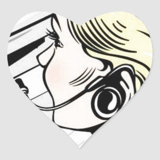 Gorgeous phone operator heart sticker