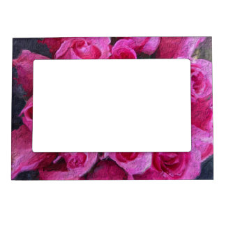 Gorgeous Pink Abstract Roses Magnetic Frame