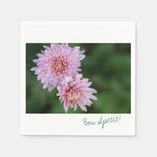 Gorgeous Pink Flowers Bon Apetit Paper Napkin