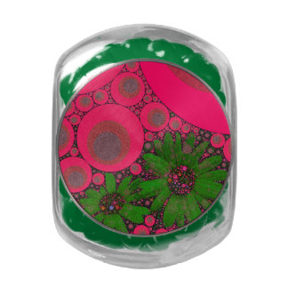 Gorgeous Pink Green Flower Abstract Glass Jars