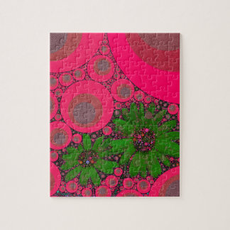 Gorgeous Pink Green Flower Abstract Jigsaw Puzzle