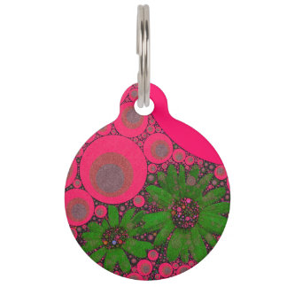 Gorgeous Pink Green Flower Abstract Pet Tag