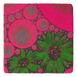 Gorgeous Pink Green Flower Abstract Trivet