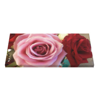 Gorgeous Pink Rose and Red Rose Up Close Picture Canvas Print