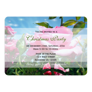 Gorgeous pink rose flowers in blue sky. Holiday Personalized Invitations