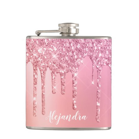 Gorgeous pink rose gold & copper glitter drips flask