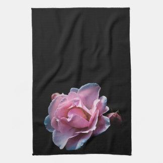 Gorgeous Pink Rose on Black. Towel