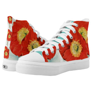 Gorgeous Poppies: 1940 illustration, modern style High-Top Sneakers