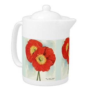 Gorgeous Poppies: 1940 illustration Teapot