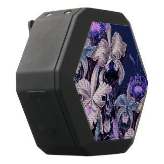 Gorgeous Purple Blue Vintage Flowers Black Bluetooth Speaker