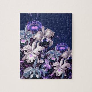 Gorgeous Purple Blue Vintage Flowers Jigsaw Puzzle