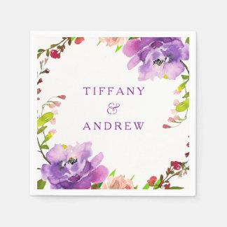 Gorgeous Purple Floral Watercolor Engagement Party Napkin