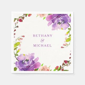 Gorgeous Purple Floral Watercolor Wedding Napkin