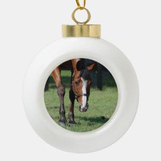 Gorgeous Quarter Horse Ceramic Ball Christmas Ornament