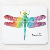 Gorgeous Rainbow Watercolor Dragonfly Personalized Mouse Pad