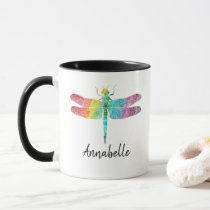 Gorgeous Rainbow Watercolor Dragonfly Personalized Mug