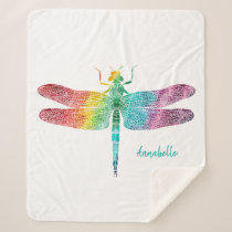 Gorgeous Rainbow Watercolor Dragonfly Personalized Sherpa Blanket
