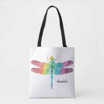 Gorgeous Rainbow Watercolor Dragonfly Personalized Tote Bag
