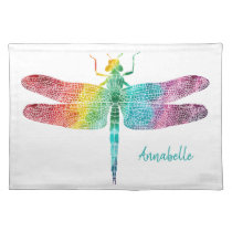 Gorgeous Rainbow Watercolor Dragonfly Silhouette Cloth Placemat