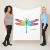 Gorgeous Rainbow Watercolor Dragonfly Silhouette Fleece Blanket