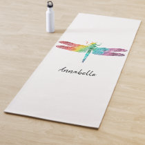 Gorgeous Rainbow Watercolor Dragonfly Silhouette Yoga Mat