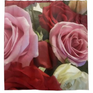 Red and Pink Roses Print Shower Curtain
