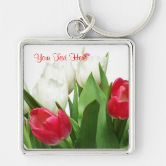Gorgeous Red and White Tulips Design Key Ring