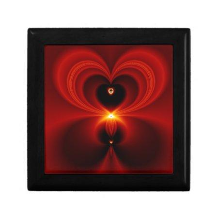 Gorgeous Red Fractal Heart Keepsake Box