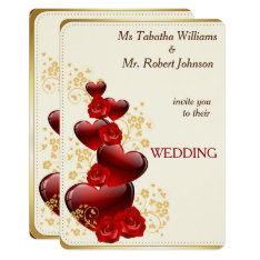 Gorgeous Red Hearts And Roses Wedding Invitation at Zazzle