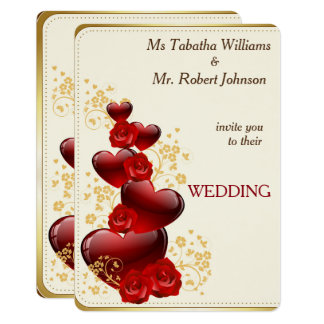 Gorgeous Red Hearts and Roses Wedding Invitation